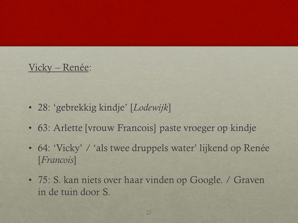 Vicky – Renée: •28: 'gebrekkig kindje' [ Lodewijk ] •63: Arlette [vrouw Francois] paste vroeger op kindje •64: 'Vicky' / 'als twee druppels water' lij