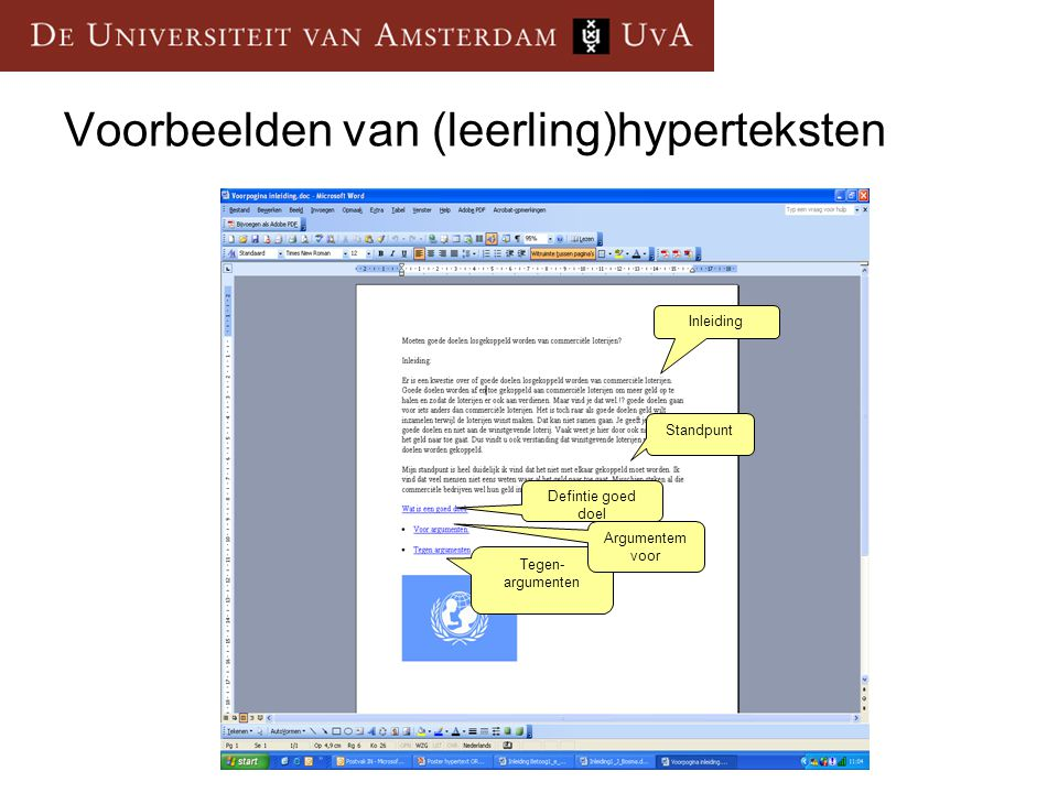Voorbeelden van (leerling)hyperteksten Inleiding Standpunt Defintie goed doel Tegen- argumenten Argumentem voor