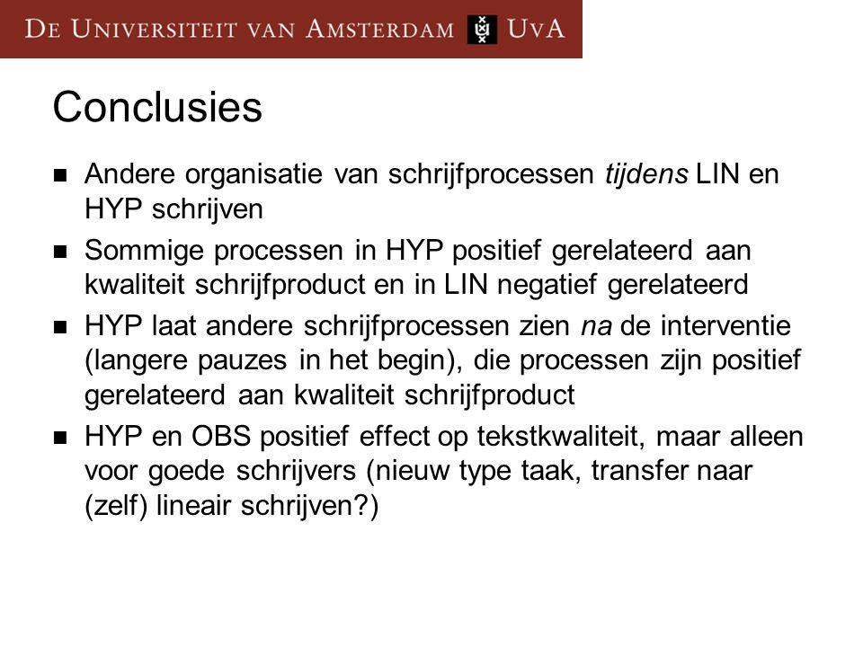 Conclusies  Andere organisatie van schrijfprocessen tijdens LIN en HYP schrijven  Sommige processen in HYP positief gerelateerd aan kwaliteit schrij