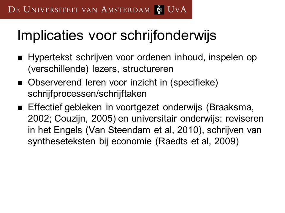 Implicaties voor schrijfonderwijs  Hypertekst schrijven voor ordenen inhoud, inspelen op (verschillende) lezers, structureren  Observerend leren voor inzicht in (specifieke) schrijfprocessen/schrijftaken  Effectief gebleken in voortgezet onderwijs (Braaksma, 2002; Couzijn, 2005) en universitair onderwijs: reviseren in het Engels (Van Steendam et al, 2010), schrijven van syntheseteksten bij economie (Raedts et al, 2009)