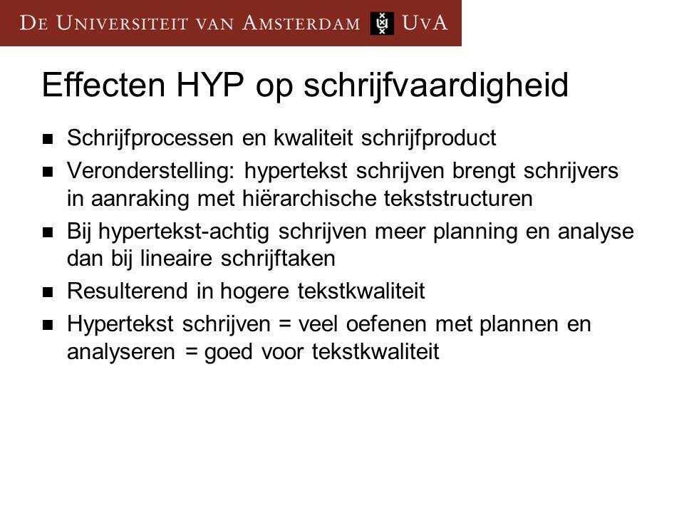 Effecten HYP op schrijfvaardigheid  Schrijfprocessen en kwaliteit schrijfproduct  Veronderstelling: hypertekst schrijven brengt schrijvers in aanrak