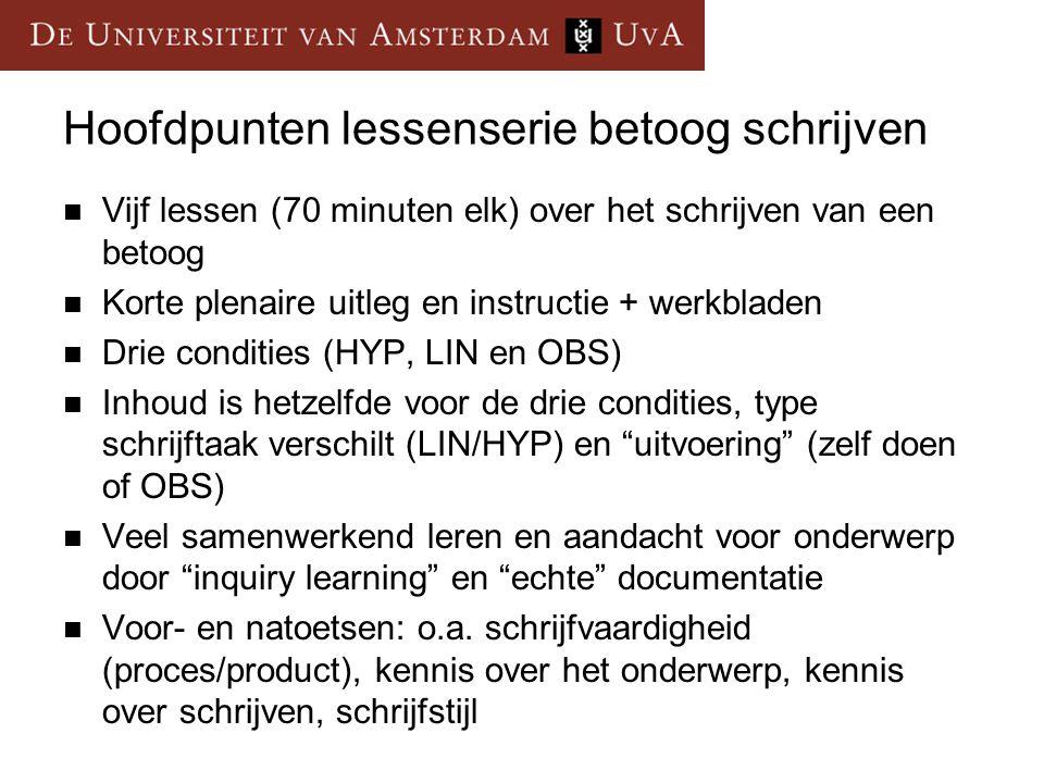 Effecten op lineair schrijven  Effecten op argumentatieve kwaliteit van het schrijfproduct (lineaire tekst over een ander onderwerp)