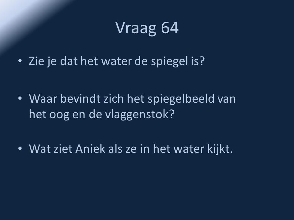 Vraag 64 • Zie je dat het water de spiegel is? • Waar bevindt zich het spiegelbeeld van het oog en de vlaggenstok? • Wat ziet Aniek als ze in het wate