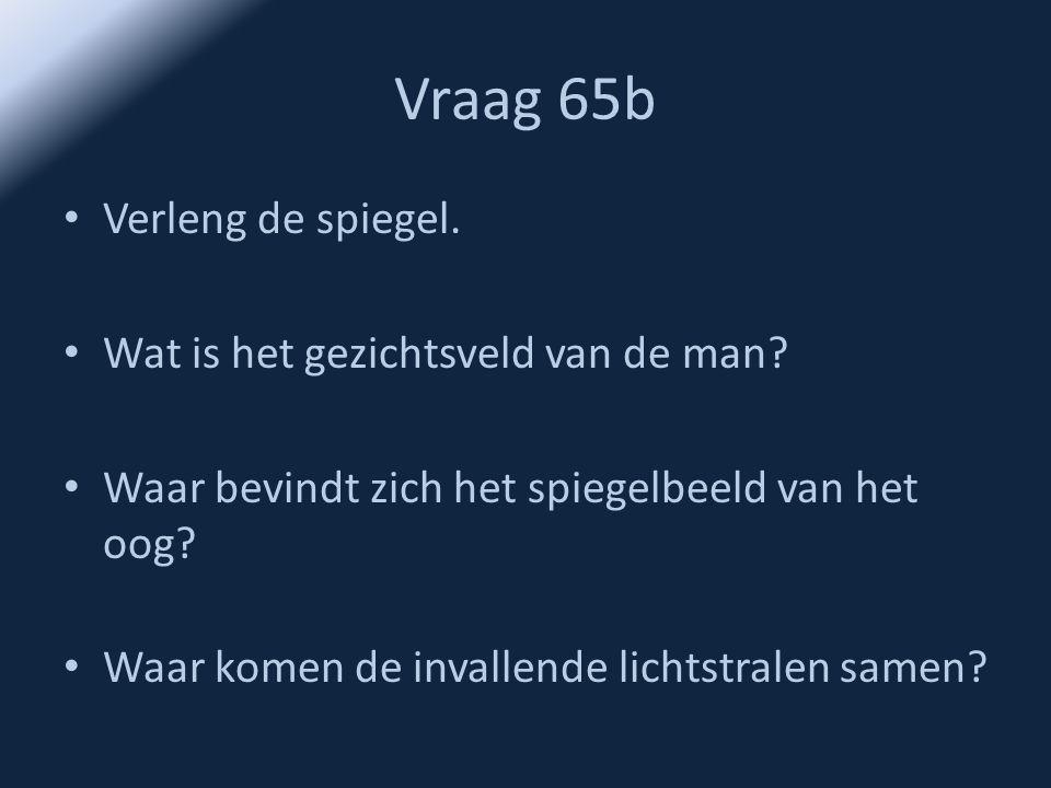 Vraag 65b • Verleng de spiegel. • Wat is het gezichtsveld van de man? • Waar bevindt zich het spiegelbeeld van het oog? • Waar komen de invallende lic