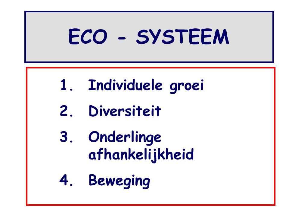 1.Individuele groei 2.Diversiteit 3.Onderlinge afhankelijkheid 4.Beweging