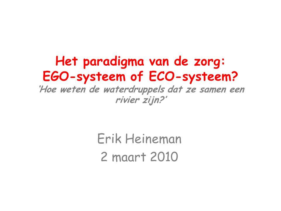 Het paradigma van de zorg: EGO-systeem of ECO-systeem? 'Hoe weten de waterdruppels dat ze samen een rivier zijn?' Erik Heineman 2 maart 2010