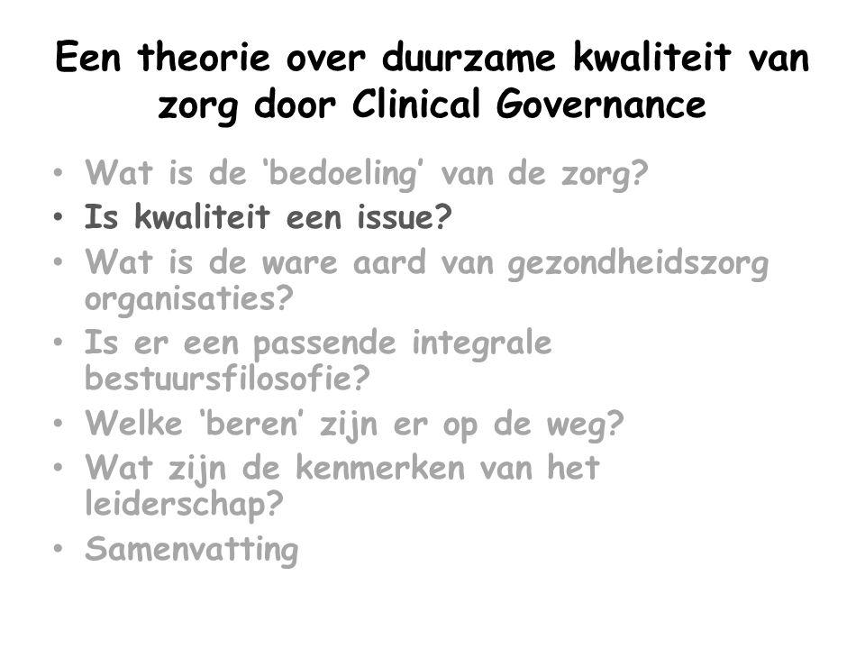 Een theorie over duurzame kwaliteit van zorg door Clinical Governance • Wat is de 'bedoeling' van de zorg? • Is kwaliteit een issue? • Wat is de ware