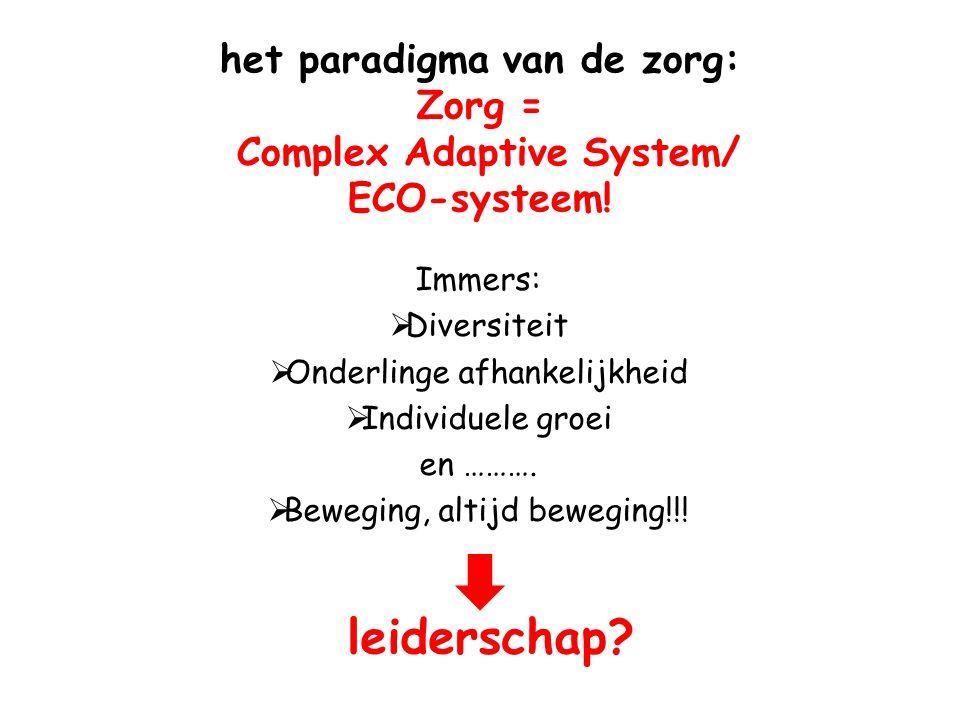 het paradigma van de zorg: Zorg = Complex Adaptive System/ ECO-systeem! Immers:  Diversiteit  Onderlinge afhankelijkheid  Individuele groei en ……….