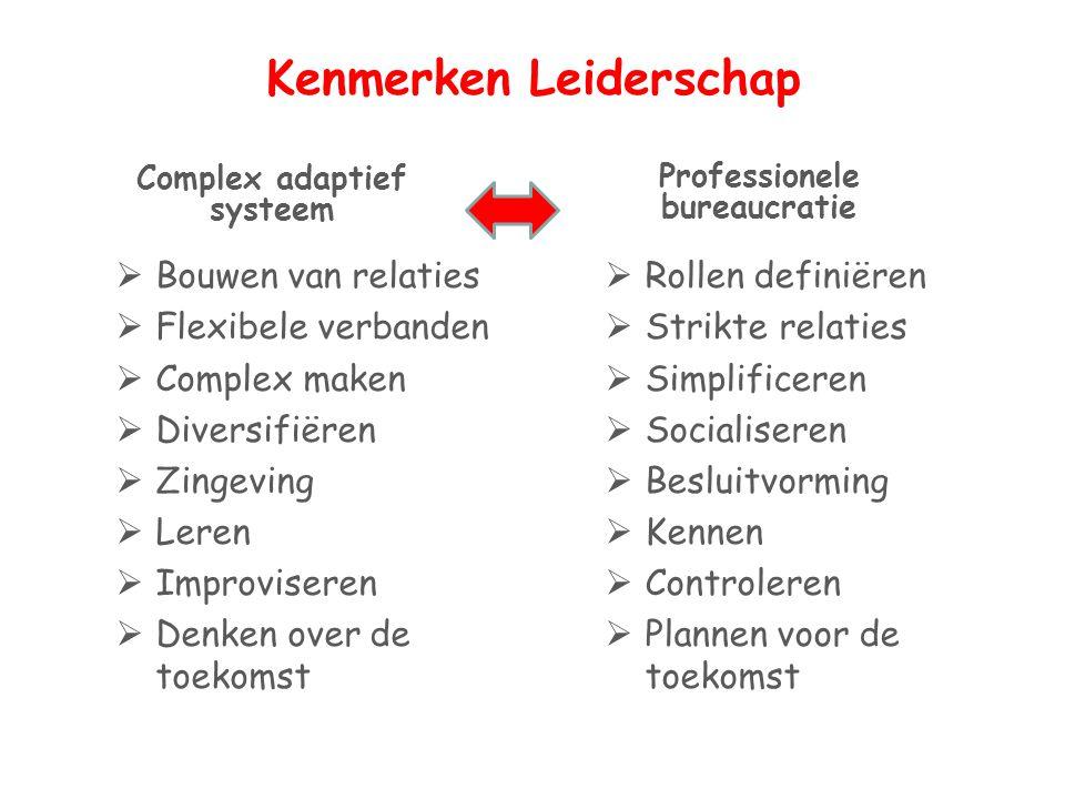 Kenmerken Leiderschap Complex adaptief systeem  Bouwen van relaties  Flexibele verbanden  Complex maken  Diversifiëren  Zingeving  Leren  Impro