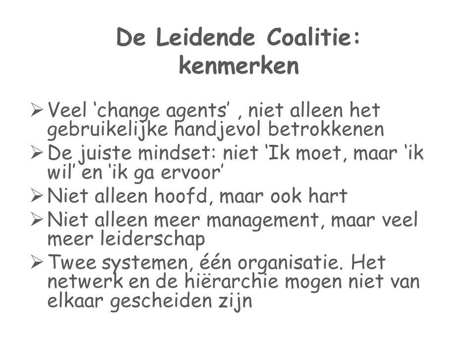 De Leidende Coalitie: kenmerken  Veel 'change agents', niet alleen het gebruikelijke handjevol betrokkenen  De juiste mindset: niet 'Ik moet, maar '