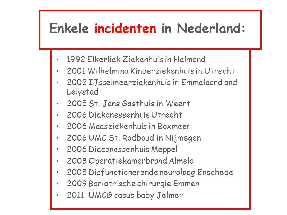 Enkele incidenten in Nederland: •1992 Elkerliek Ziekenhuis in Helmond •2001 Wilhelmina Kinderziekenhuis in Utrecht •2002 IJsselmeerziekenhuis in Emmel