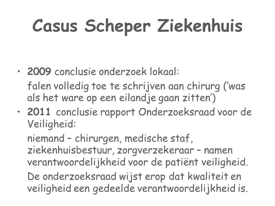 Casus Scheper Ziekenhuis •2009 conclusie onderzoek lokaal: falen volledig toe te schrijven aan chirurg ('was als het ware op een eilandje gaan zitten'