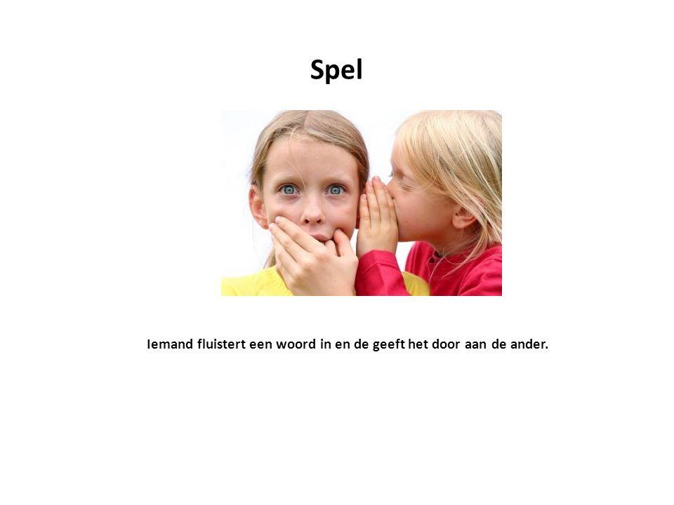 Spel Iemand fluistert een woord in en de geeft het door aan de ander.