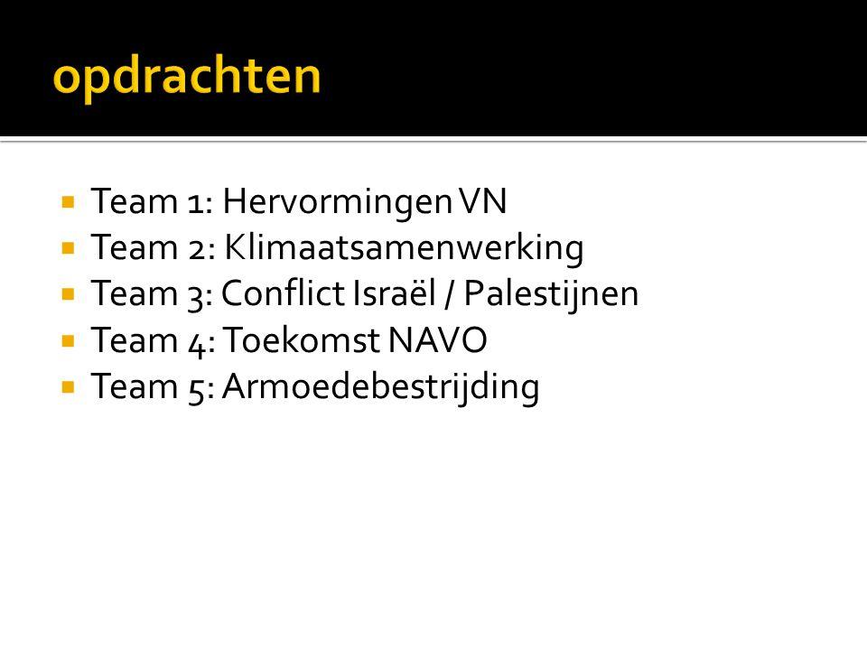  Team 1: Hervormingen VN  Team 2: Klimaatsamenwerking  Team 3: Conflict Israël / Palestijnen  Team 4: Toekomst NAVO  Team 5: Armoedebestrijding