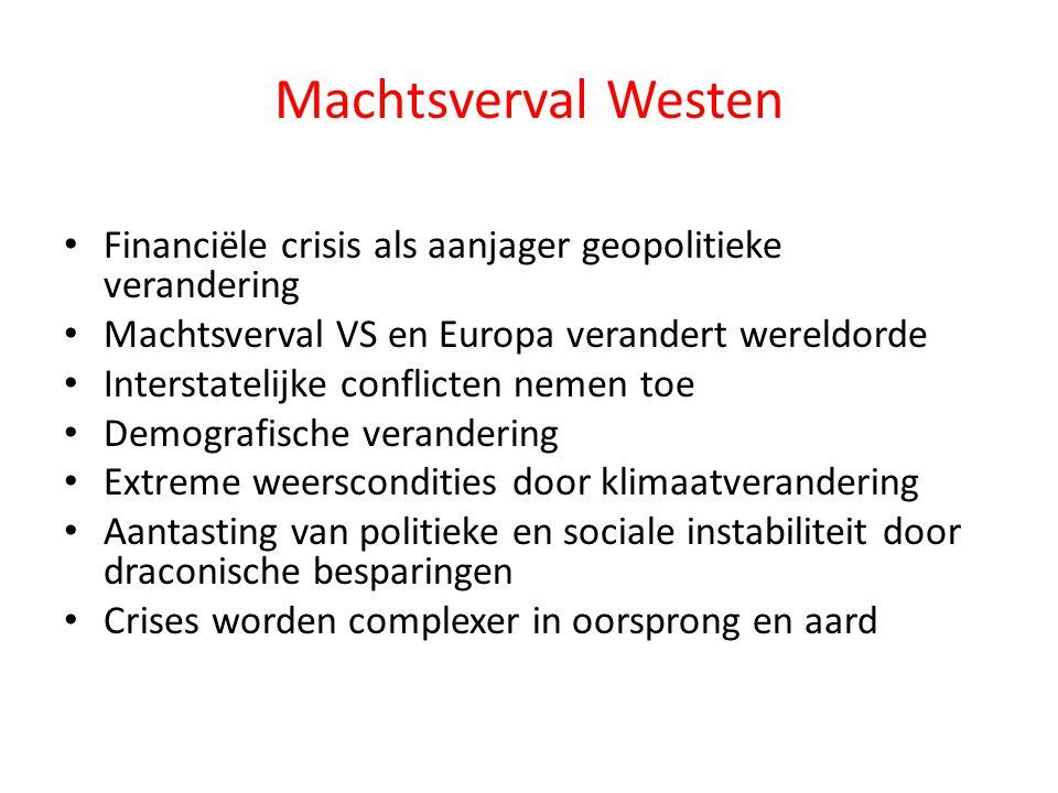 Machtsverval Westen • Financiële crisis als aanjager geopolitieke verandering • Machtsverval VS en Europa verandert wereldorde • Interstatelijke confl