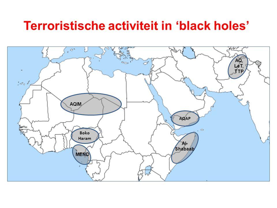 Terroristische activiteit in 'black holes' Boko Haram Al- Shabaab AQAP AQ, LeT, TTP AQIM MEND