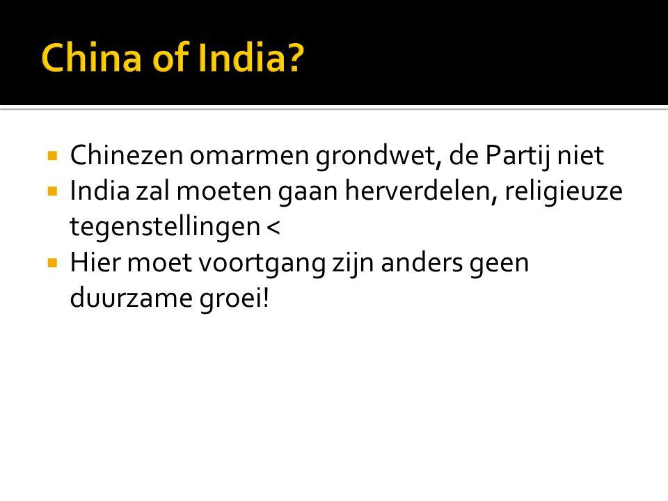  Chinezen omarmen grondwet, de Partij niet  India zal moeten gaan herverdelen, religieuze tegenstellingen <  Hier moet voortgang zijn anders geen d