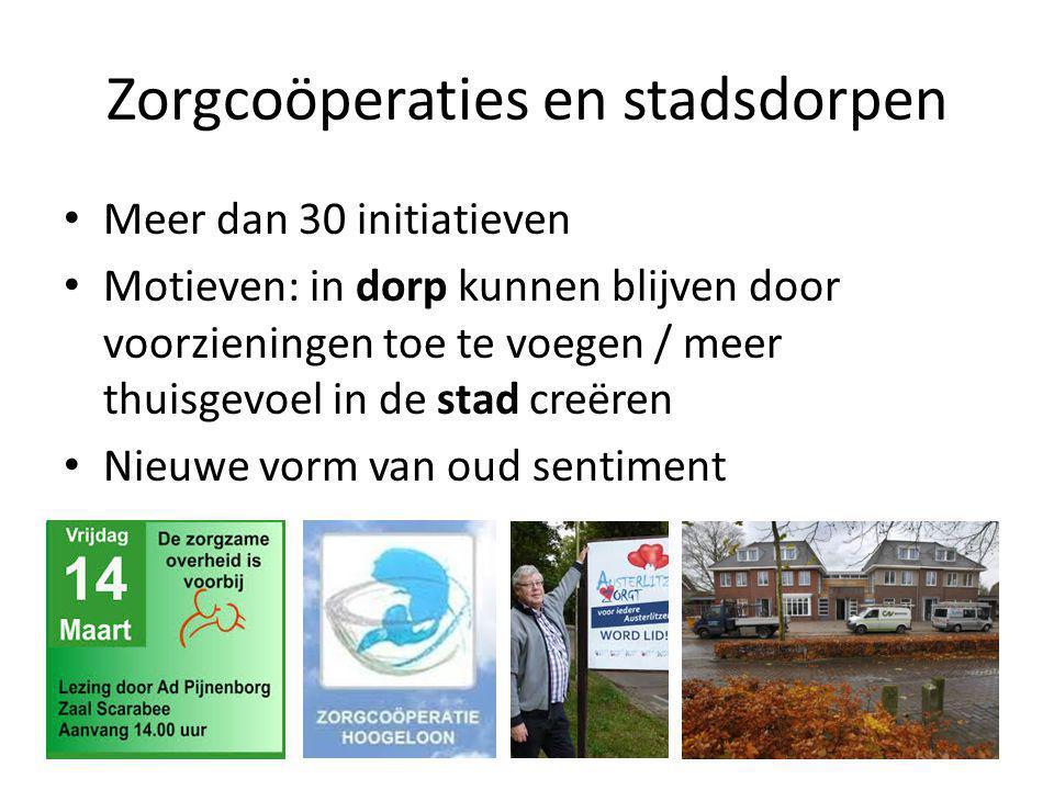 Zorgcoöperaties en stadsdorpen • Meer dan 30 initiatieven • Motieven: in dorp kunnen blijven door voorzieningen toe te voegen / meer thuisgevoel in de