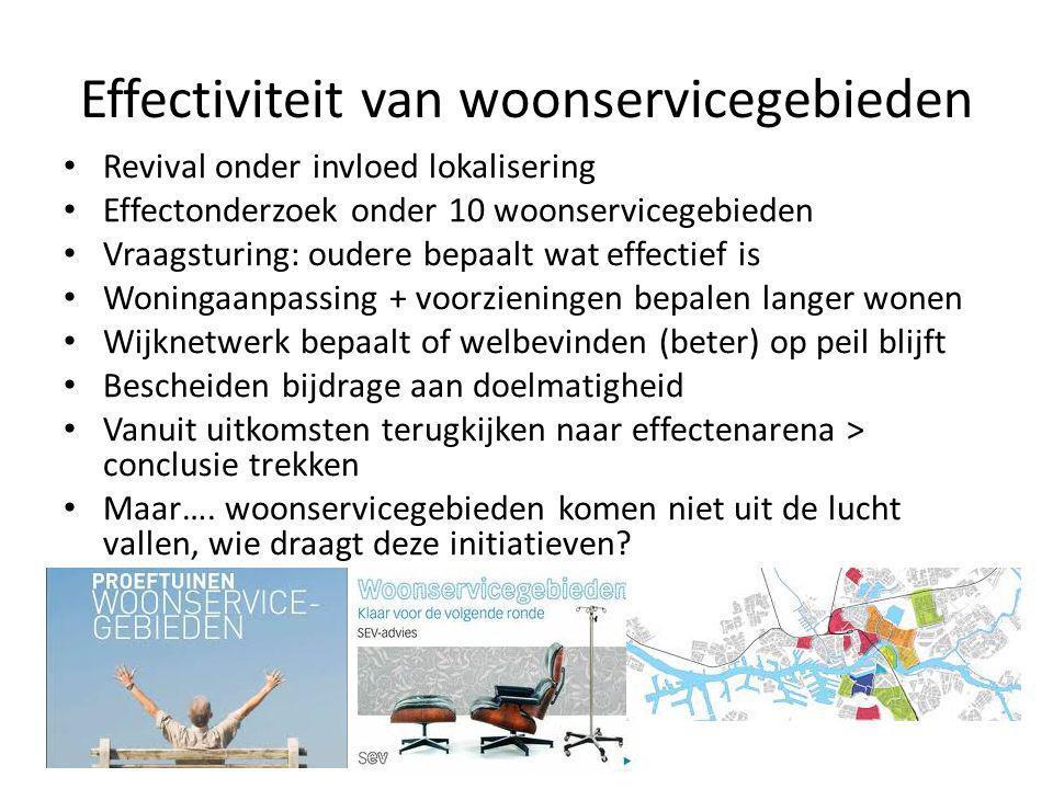 Effectiviteit van woonservicegebieden • Revival onder invloed lokalisering • Effectonderzoek onder 10 woonservicegebieden • Vraagsturing: oudere bepaa