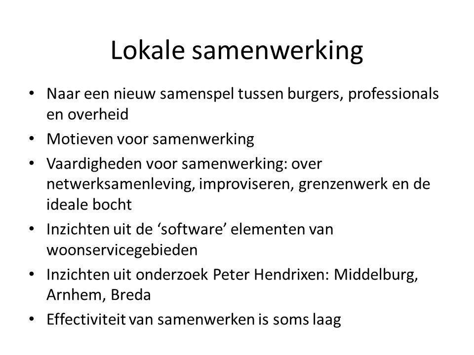 Lokale samenwerking • Naar een nieuw samenspel tussen burgers, professionals en overheid • Motieven voor samenwerking • Vaardigheden voor samenwerking