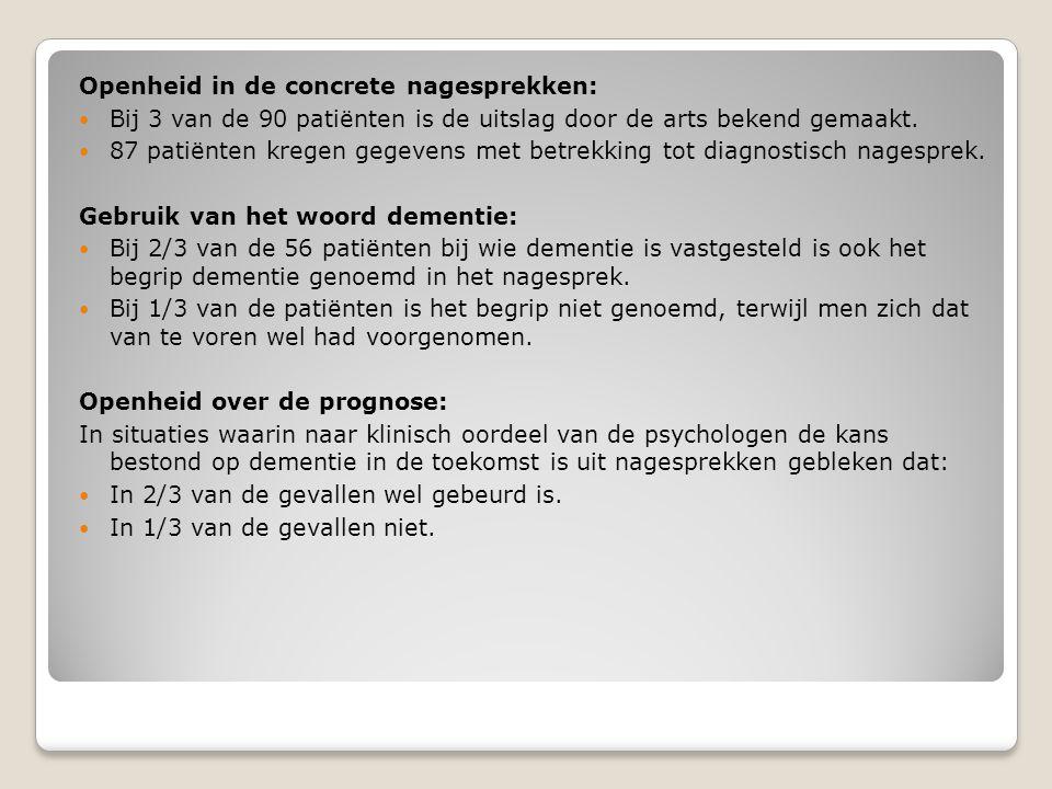 Openheid in de concrete nagesprekken:  Bij 3 van de 90 patiënten is de uitslag door de arts bekend gemaakt.  87 patiënten kregen gegevens met betrek