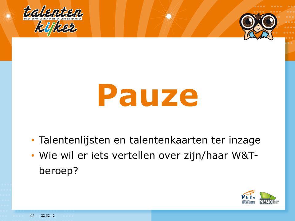 21 Pauze • Talentenlijsten en talentenkaarten ter inzage • Wie wil er iets vertellen over zijn/haar W&T- beroep? 22-02-12