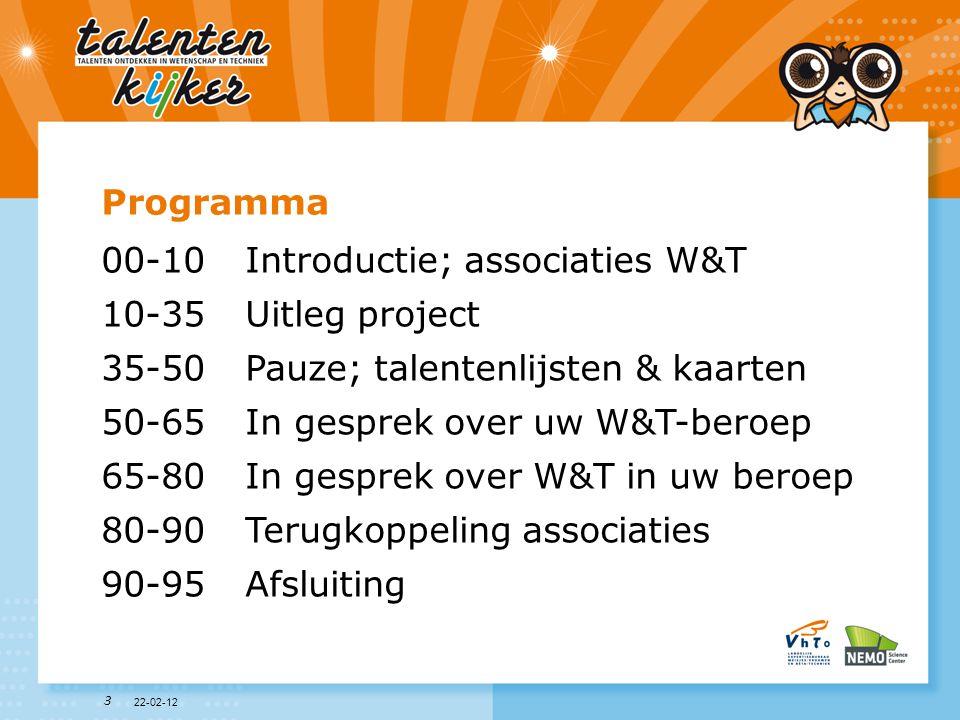 3 Programma 00-10Introductie; associaties W&T 10-35Uitleg project 35-50Pauze; talentenlijsten & kaarten 50-65In gesprek over uw W&T-beroep 65-80In ges