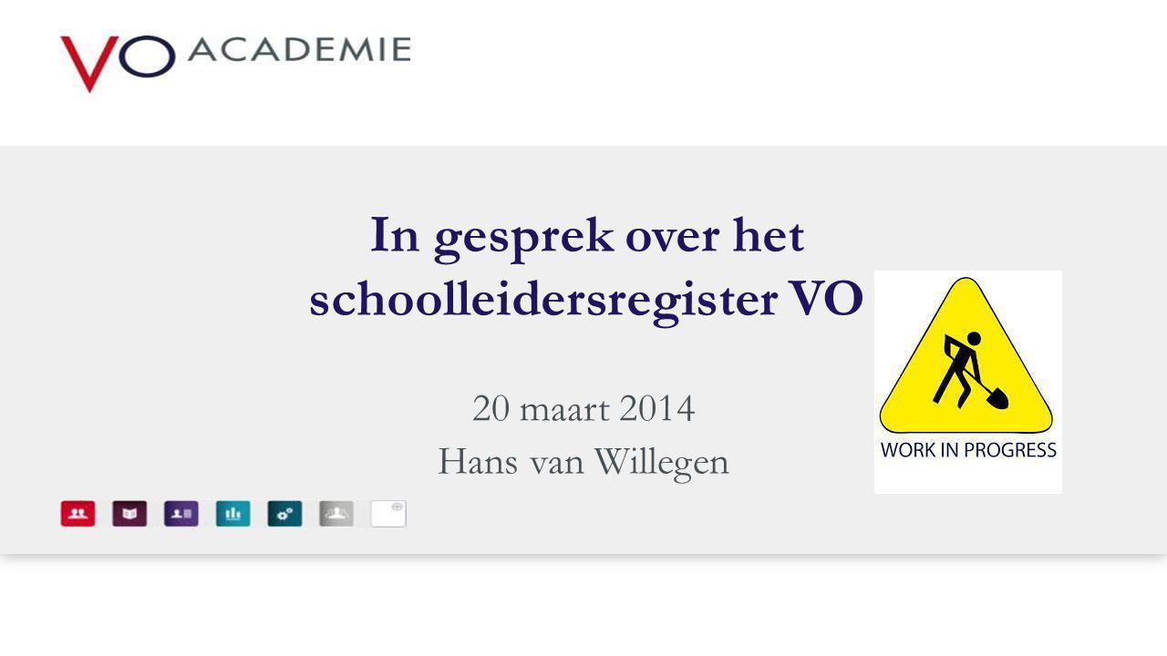 In gesprek over het schoolleidersregister VO 20 maart 2014 Hans van Willegen