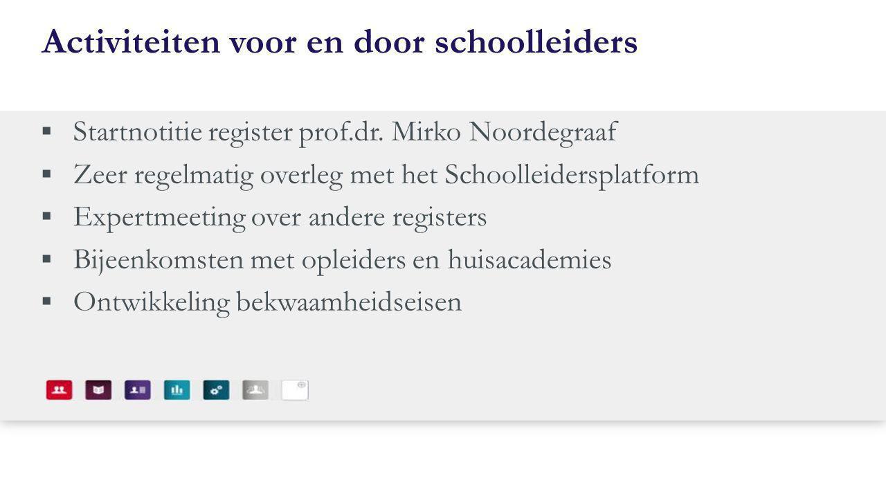Activiteiten voor en door schoolleiders  Startnotitie register prof.dr. Mirko Noordegraaf  Zeer regelmatig overleg met het Schoolleidersplatform  E