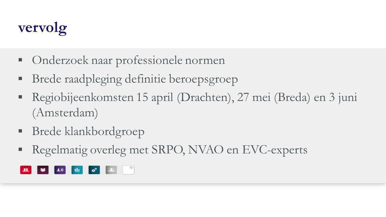 vervolg  Onderzoek naar professionele normen  Brede raadpleging definitie beroepsgroep  Regiobijeenkomsten 15 april (Drachten), 27 mei (Breda) en 3