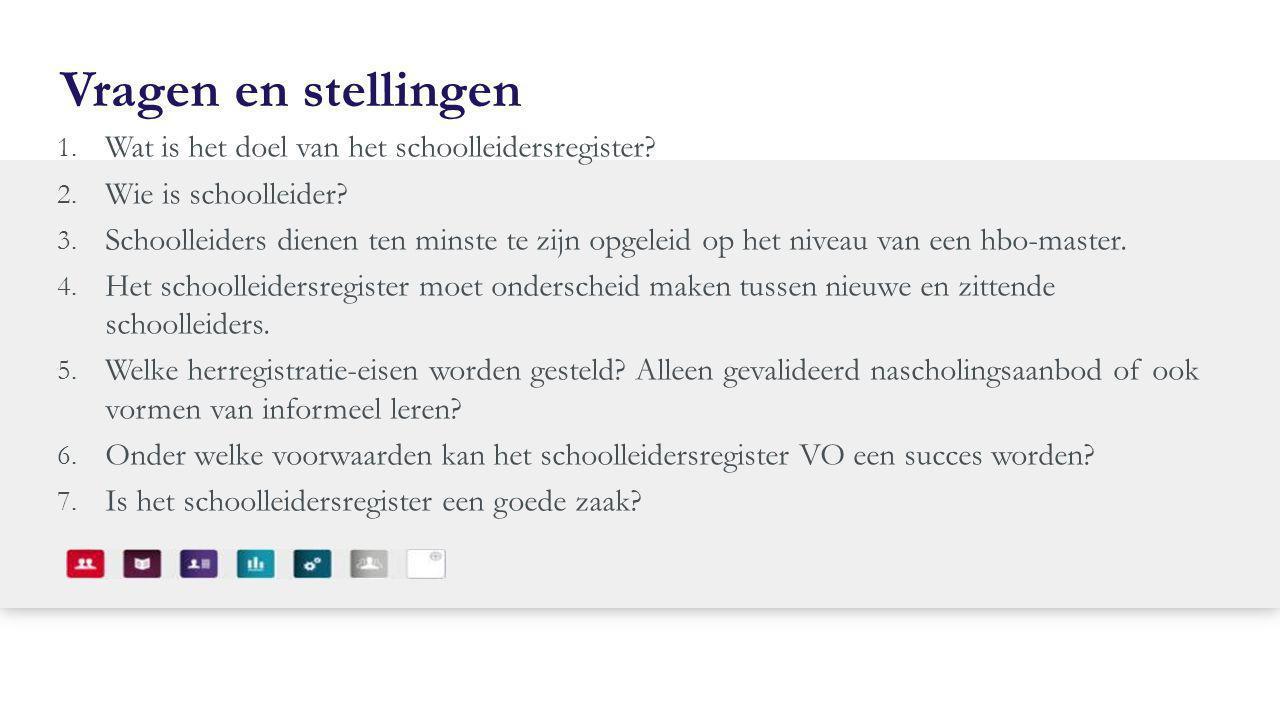 Vragen en stellingen 1. Wat is het doel van het schoolleidersregister? 2. Wie is schoolleider? 3. Schoolleiders dienen ten minste te zijn opgeleid op