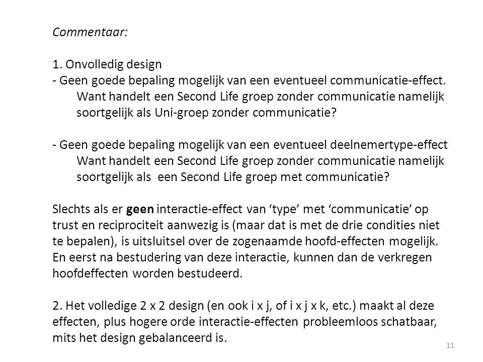 Commentaar: 1. Onvolledig design - Geen goede bepaling mogelijk van een eventueel communicatie-effect. Want handelt een Second Life groep zonder commu