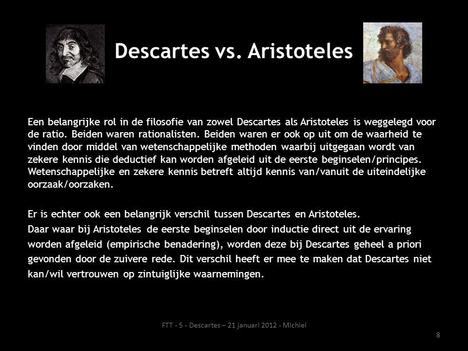 Een belangrijke rol in de filosofie van zowel Descartes als Aristoteles is weggelegd voor de ratio.