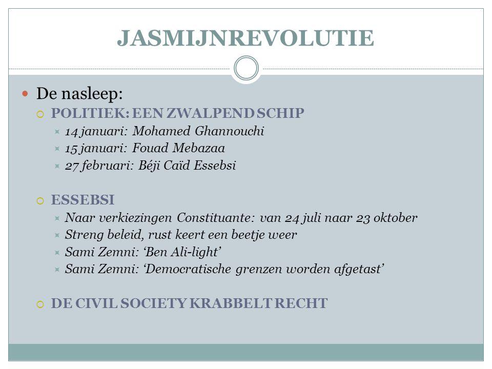 JASMIJNREVOLUTIE  De nasleep:  POLITIEK: EEN ZWALPEND SCHIP  14 januari: Mohamed Ghannouchi  15 januari: Fouad Mebazaa  27 februari: Béji Caïd Essebsi  ESSEBSI  Naar verkiezingen Constituante: van 24 juli naar 23 oktober  Streng beleid, rust keert een beetje weer  Sami Zemni: 'Ben Ali-light'  Sami Zemni: 'Democratische grenzen worden afgetast'  DE CIVIL SOCIETY KRABBELT RECHT