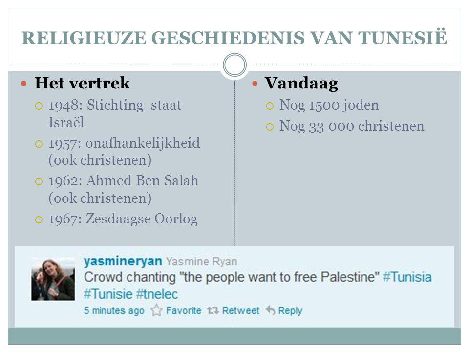 RELIGIEUZE GESCHIEDENIS VAN TUNESIË  Het vertrek  1948: Stichting staat Israël  1957: onafhankelijkheid (ook christenen)  1962: Ahmed Ben Salah (ook christenen)  1967: Zesdaagse Oorlog  Vandaag  Nog 1500 joden  Nog 33 000 christenen