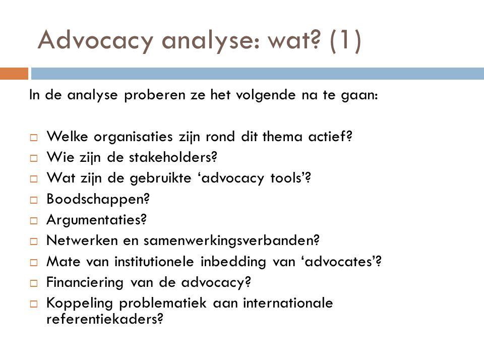 Advocacy analyse: wat? (1) In de analyse proberen ze het volgende na te gaan:  Welke organisaties zijn rond dit thema actief?  Wie zijn de stakehold