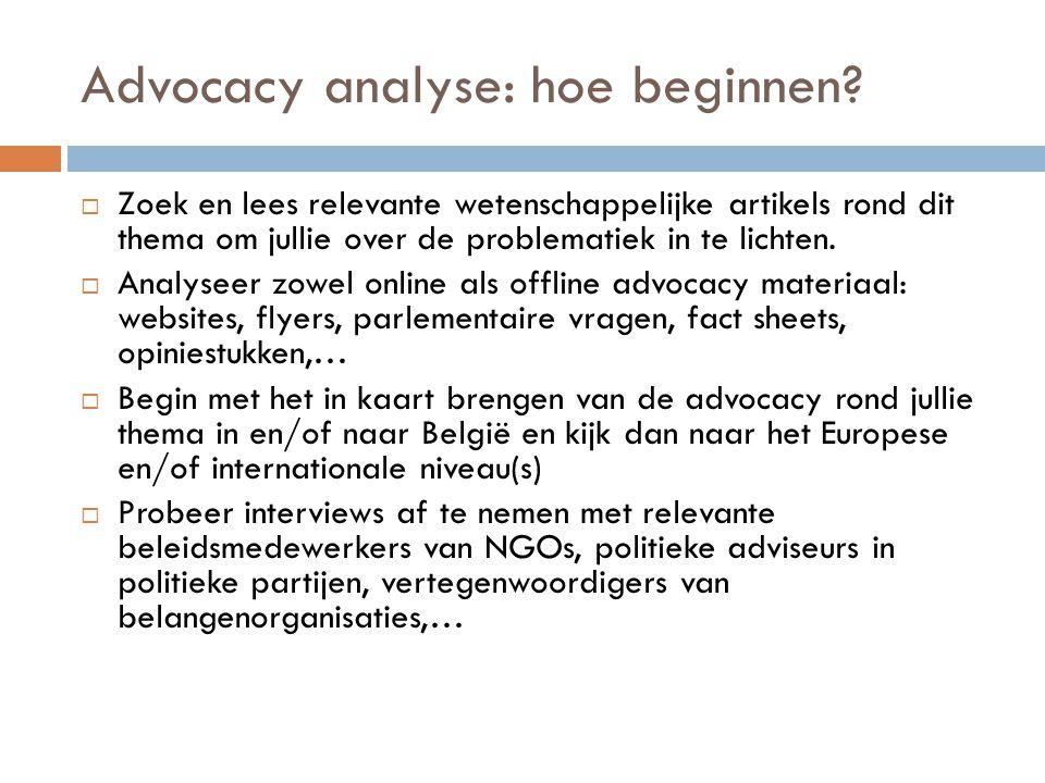 Advocacy analyse: hoe beginnen?  Zoek en lees relevante wetenschappelijke artikels rond dit thema om jullie over de problematiek in te lichten.  Ana