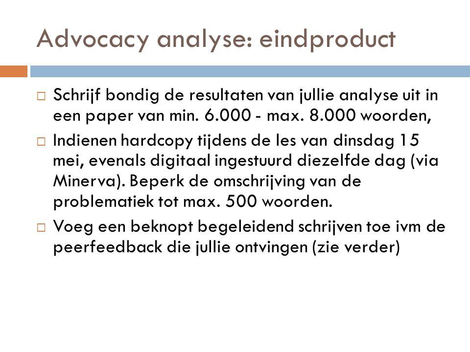 Advocacy analyse: eindproduct  Schrijf bondig de resultaten van jullie analyse uit in een paper van min. 6.000 - max. 8.000 woorden,  Indienen hardc