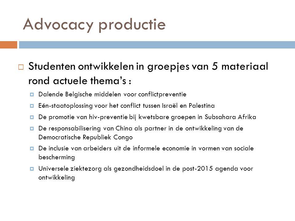 Advocacy productie  Studenten ontwikkelen in groepjes van 5 materiaal rond actuele thema's :  Dalende Belgische middelen voor conflictpreventie  Eé
