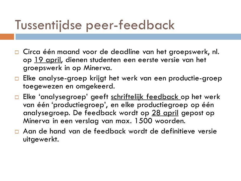 Tussentijdse peer-feedback  Circa één maand voor de deadline van het groepswerk, nl. op 19 april, dienen studenten een eerste versie van het groepswe