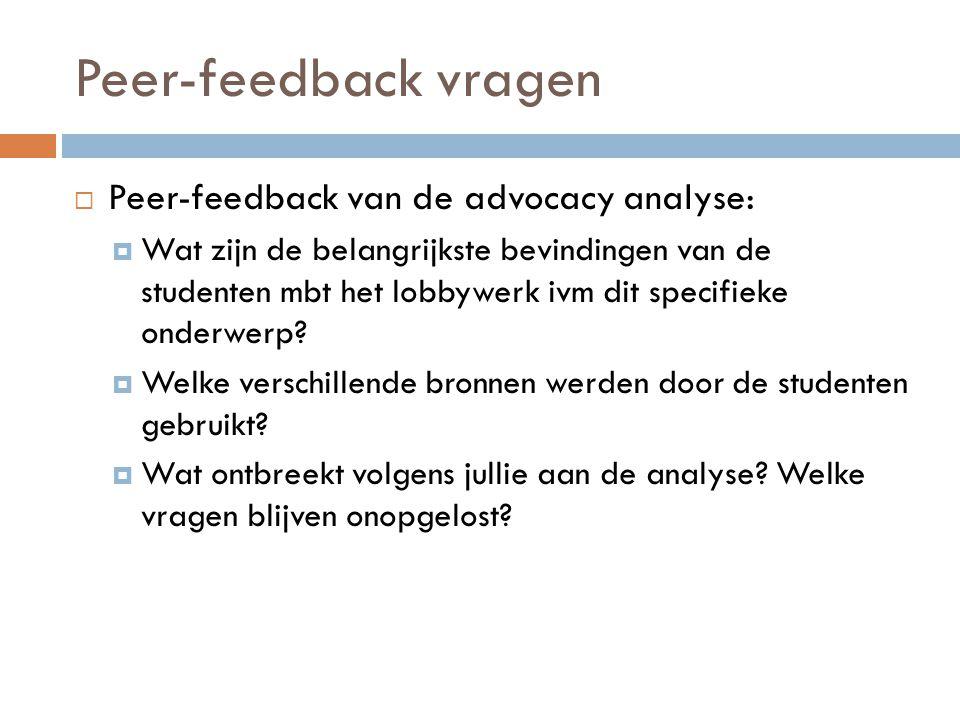 Peer-feedback vragen  Peer-feedback van de advocacy analyse:  Wat zijn de belangrijkste bevindingen van de studenten mbt het lobbywerk ivm dit speci