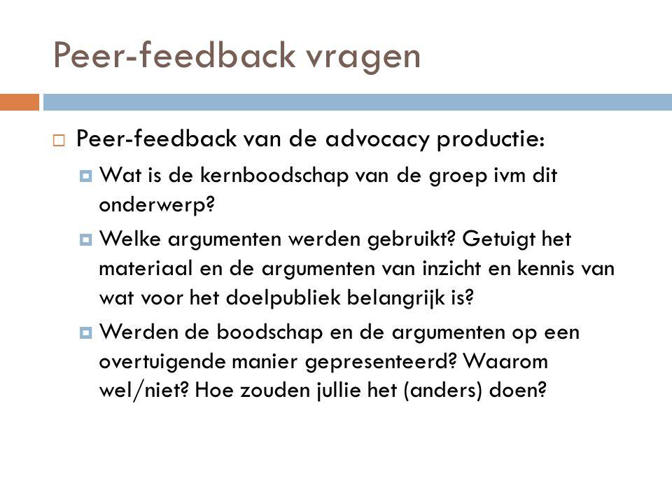 Peer-feedback vragen  Peer-feedback van de advocacy productie:  Wat is de kernboodschap van de groep ivm dit onderwerp?  Welke argumenten werden ge