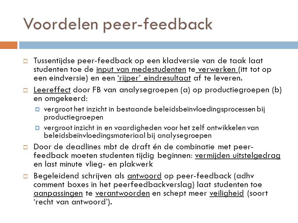 Voordelen peer-feedback  Tussentijdse peer-feedback op een kladversie van de taak laat studenten toe de input van medestudenten te verwerken (itt tot