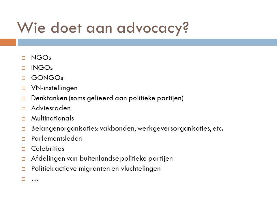 Wie doet aan advocacy?  NGOs  INGOs  GONGOs  VN-instellingen  Denktanken (soms gelieerd aan politieke partijen)  Adviesraden  Multinationals 