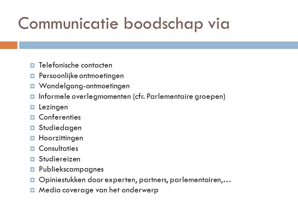 Communicatie boodschap via  Telefonische contacten  Persoonlijke ontmoetingen  Wandelgang-ontmoetingen  Informele overlegmomenten (cfr. Parlementa