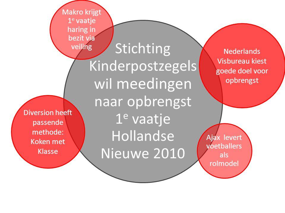 Stichting Kinderpostzegels wil meedingen naar opbrengst 1 e vaatje Hollandse Nieuwe 2010 Diversion heeft passende methode: Koken met Klasse Nederlands