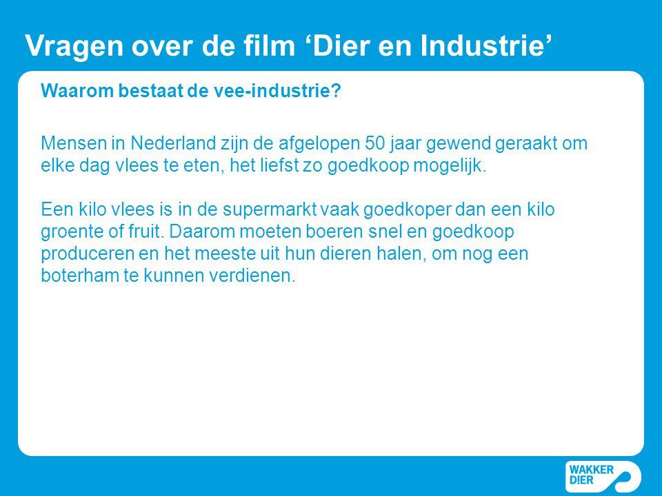 Waarom bestaat de vee-industrie? Vragen over de film 'Dier en Industrie' Mensen in Nederland zijn de afgelopen 50 jaar gewend geraakt om elke dag vlee