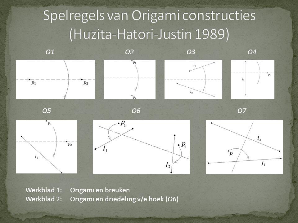 O1 O2 O3 O4 O5O6 O7 Werkblad 1:Origami en breuken Werkblad 2:Origami en driedeling v/e hoek (O6)