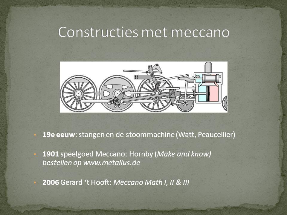 • 19e eeuw: stangen en de stoommachine (Watt, Peaucellier) • 1901 speelgoed Meccano: Hornby (Make and know) bestellen op www.metallus.de • 2006 Gerard