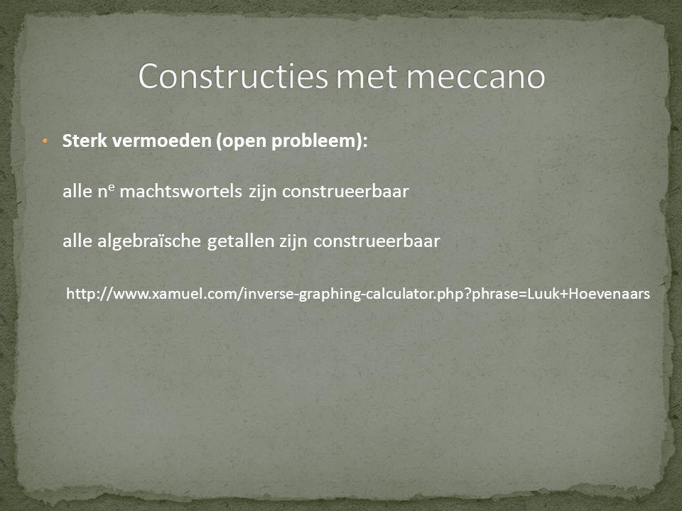 • Sterk vermoeden (open probleem): alle n e machtswortels zijn construeerbaar alle algebraïsche getallen zijn construeerbaar http://www.xamuel.com/inv